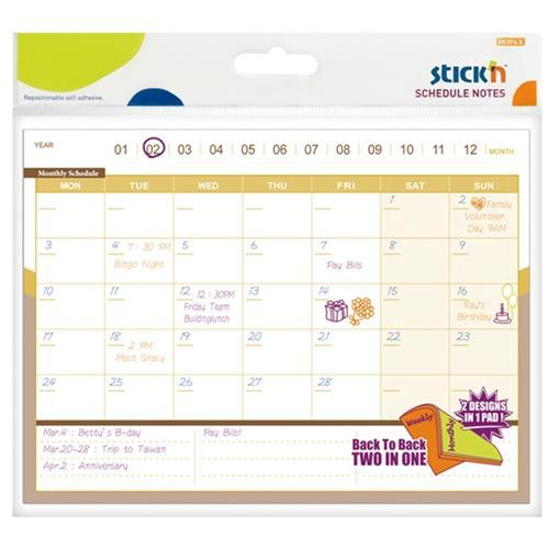 Stick'n Schedule D/S Notes Monthly/Weekly 150x203mm 40 Sheets - Office Connect