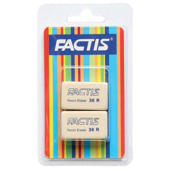 Factis Erasers 36R Twin Hangsell Pack - Office Connect