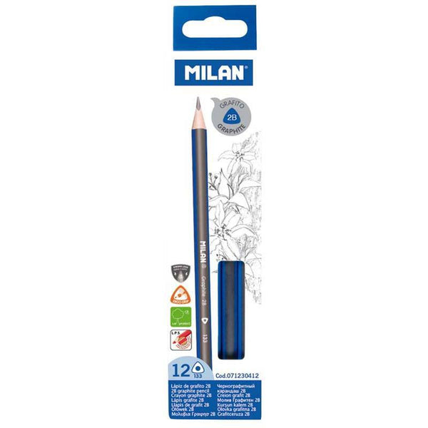 Milan Graphite Pencils 2b Pack 12 Triangular - Office Connect
