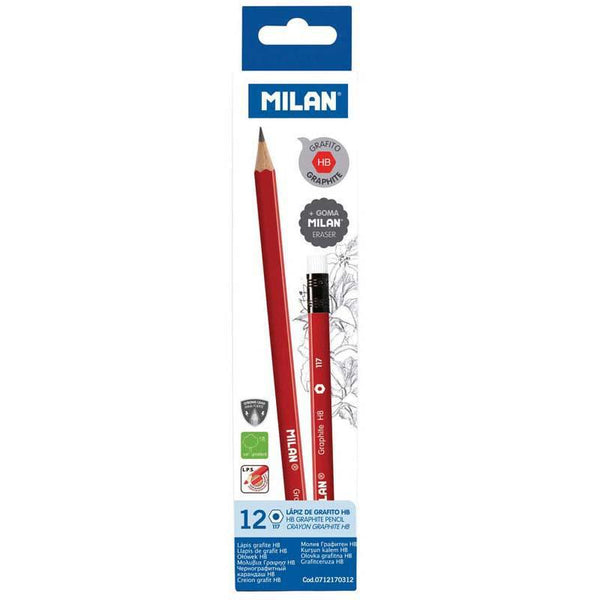 Milan Graphite Pencils HB With Eraser Pack 12 Triangular - Office Connect