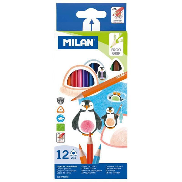 Milan Coloured Pencils Triangular Pack 12 Assorted Colours - Office Connect