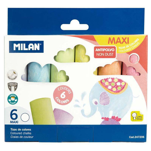Milan Non Dust Maxi Chalk Pac 6 - Office Connect