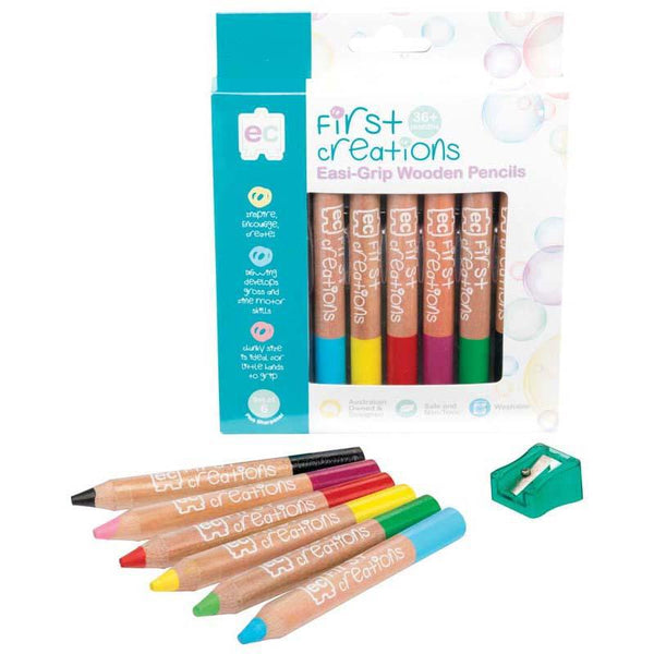 EC First Creations Easi-Grip Wooden Pencils Pack 6 - Office Connect