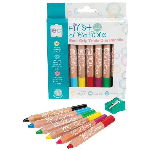 EC First Creations Easi-Grip Triple One Wooden Pencils Pack 6 - Office Connect