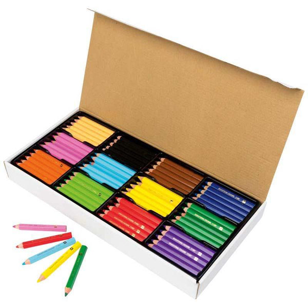 EC Jumbo Pencils Pack 120 Washable Assorted Colours With Sharpener - Office Connect