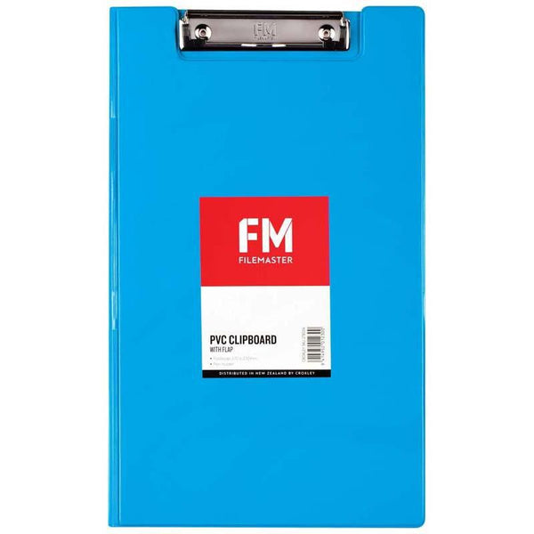 FM Clipboard File Foolscap PVC With Flap Ice Blue - Office Connect