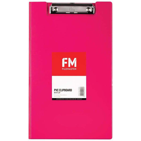 FM Clipboard File Foolscap PVC With Flap Shocking Pink - Office Connect