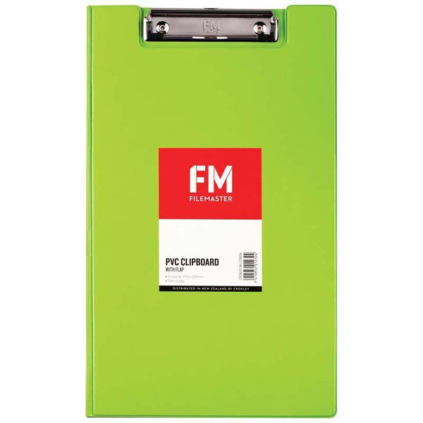 FM Clipboard File Foolscap PVC With Flap Lime Green - Office Connect