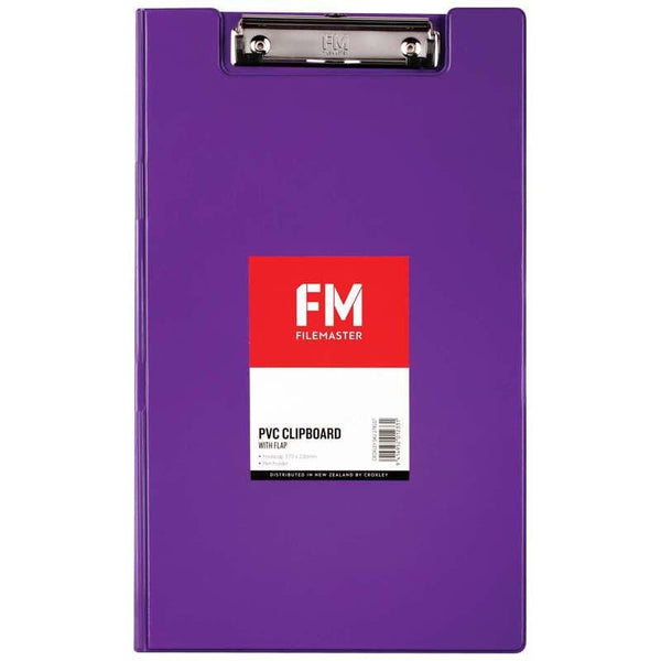 FM Clipboard File Foolscap PVC With Flap Passion Purple - Office Connect