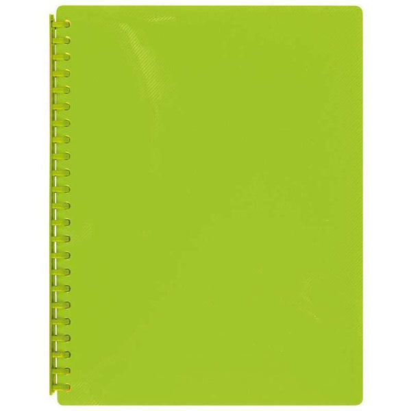 FM Display Book A4 Lime Green Textured Refillable 20 Pocket - Office Connect