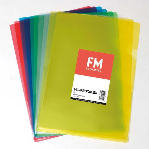 FM Pocket L Shape Clear A4 Assorted 10 Pack Hangsell - Office Connect