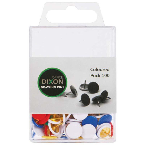 Dixon Drawing Pins Coloured Pack 100 - Office Connect