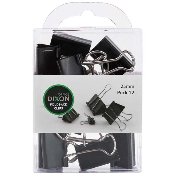 Dixon Foldback Clips 25mm Pack 12 - Office Connect