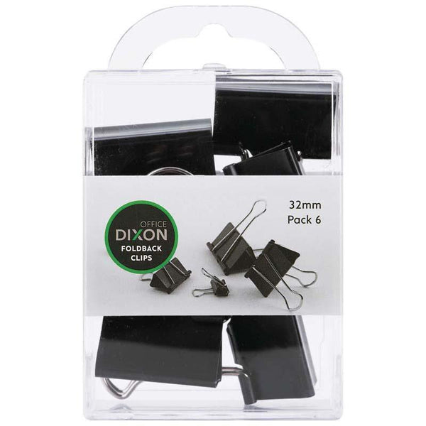 Dixon Foldback Clips 32mm Pack 6 - Office Connect