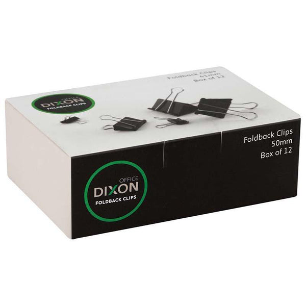Dixon Foldback Clips 50mm Pack 12 - Office Connect