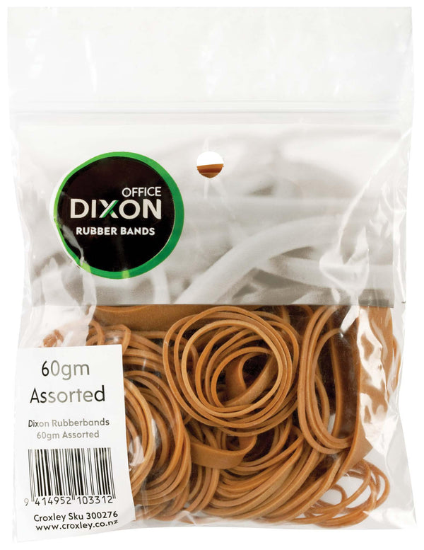 Dixon Rubber Bands 60gm Assorted - Office Connect