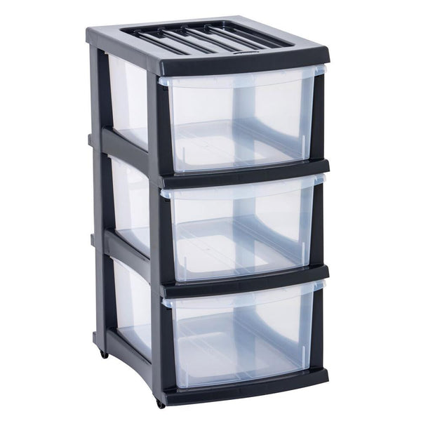 Taurus Storage Organiser 3 Drawer Grey - Office Connect