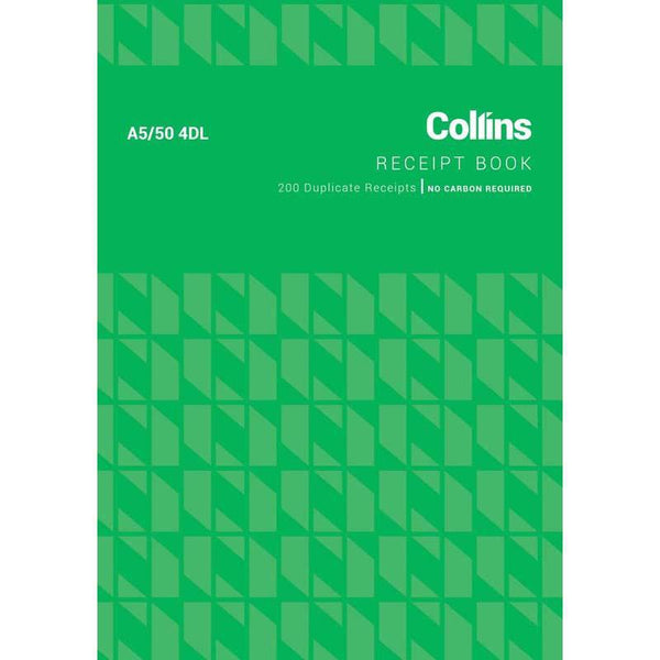 Collins Cash Receipt A5/50 4DL Duplicate No Carbon Required - Office Connect