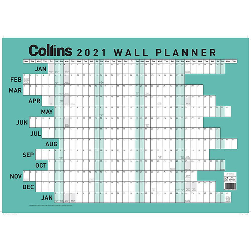 Collins Wallplanner A2 Odd Year - Office Connect