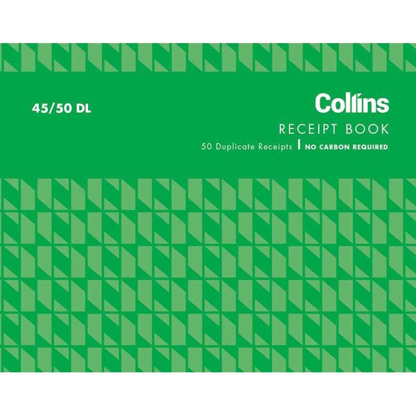 Collins Cash Receipt 45/50DL Duplicate No Carbon Required - Office Connect