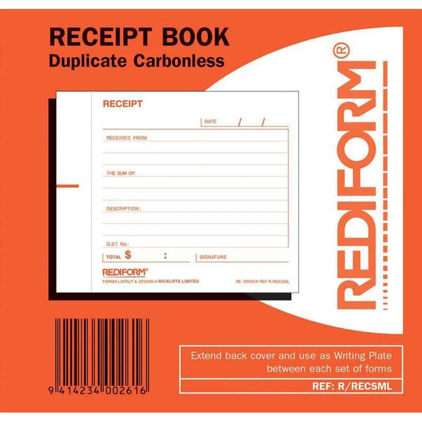 Rediform Book Receipt Small R/Recsml Duplicate 50 Leaf - Office Connect