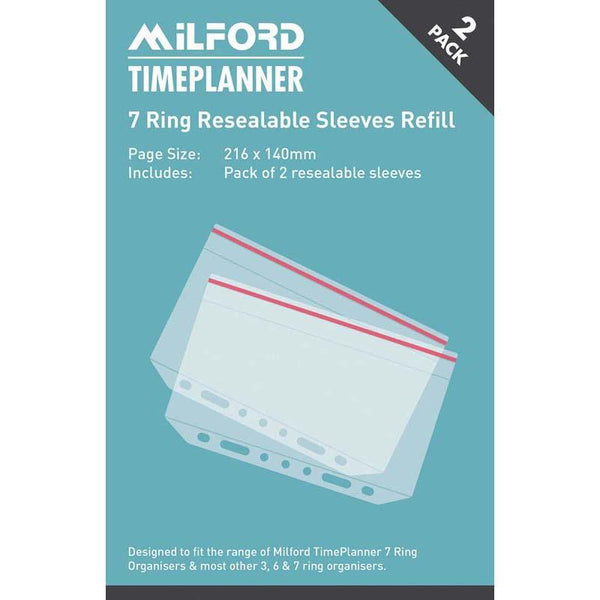 Timeplanner 7 Ring Resealable Sleeve Refill 2 Pack - Office Connect