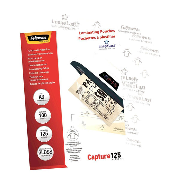 Fellowes Laminating Pouches A3 Gloss 125 Micron Pack 100 - Office Connect