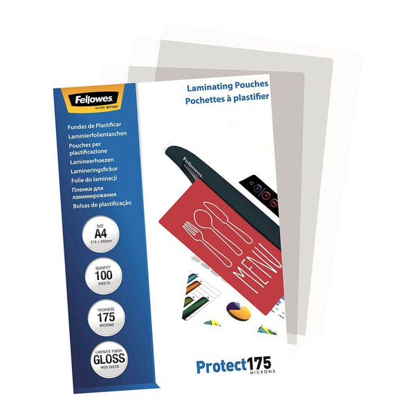 Fellowes Laminating Pouches A4 Gloss 175 Micron Pack 100 - Office Connect