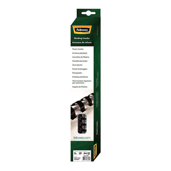 Fellowes Plastic Binding Combs 8mm Black Pack 25 - Office Connect