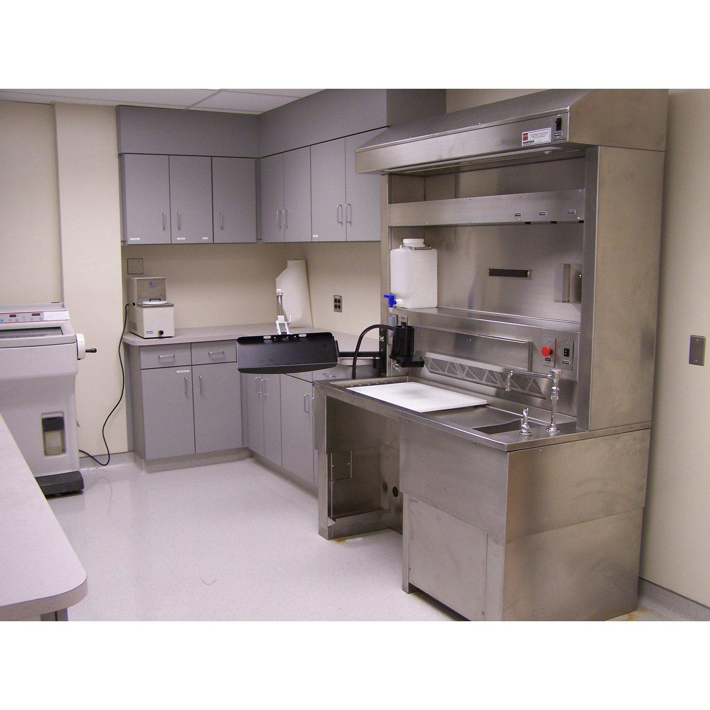 Elevating Pathology Workstation with Backdraft Ventilation-Pathology Grossing Stations-Mortech Manufacturing Company Inc. Quality Stainless Steel Autopsy, Morgue, Funeral Home, Necropsy, Veterinary / Anatomy, Dissection Equipment and Accessories