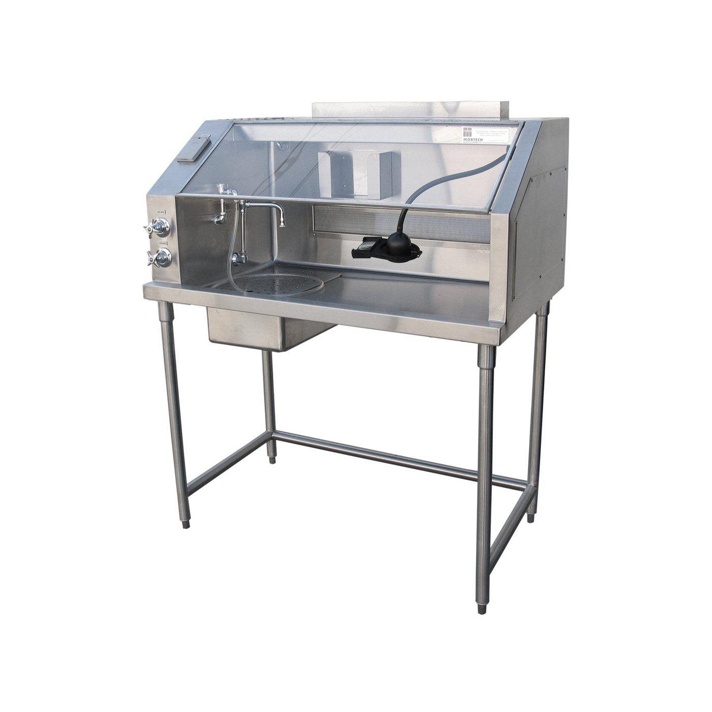 Ventilated Hood Dissection Table-Necropsy Dissection Tables-Mortech Manufacturing Company Inc. Quality Stainless Steel Autopsy, Morgue, Funeral Home, Necropsy, Veterinary / Anatomy, Dissection Equipment and Accessories