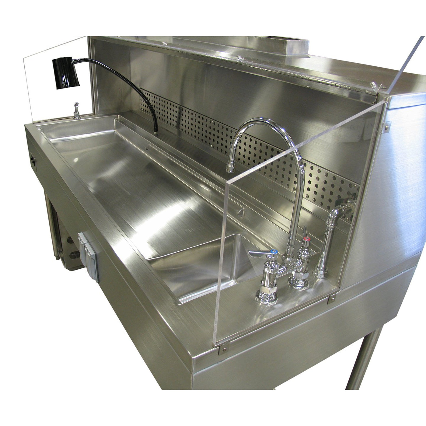 Custom Semi-Enclosed Ventilated Hood Dissection Table-Custom Product-Mortech Manufacturing Company Inc. Quality Stainless Steel Autopsy, Morgue, Funeral Home, Necropsy, Veterinary / Anatomy, Dissection Equipment and Accessories