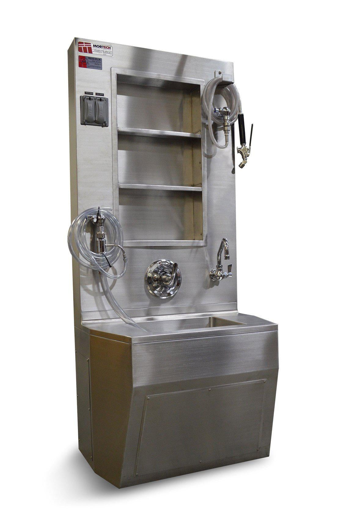 Wall Mount Service Station-Sink Station-Mortech Manufacturing Company Inc. Quality Stainless Steel Autopsy, Morgue, Funeral Home, Necropsy, Veterinary / Anatomy, Dissection Equipment and Accessories