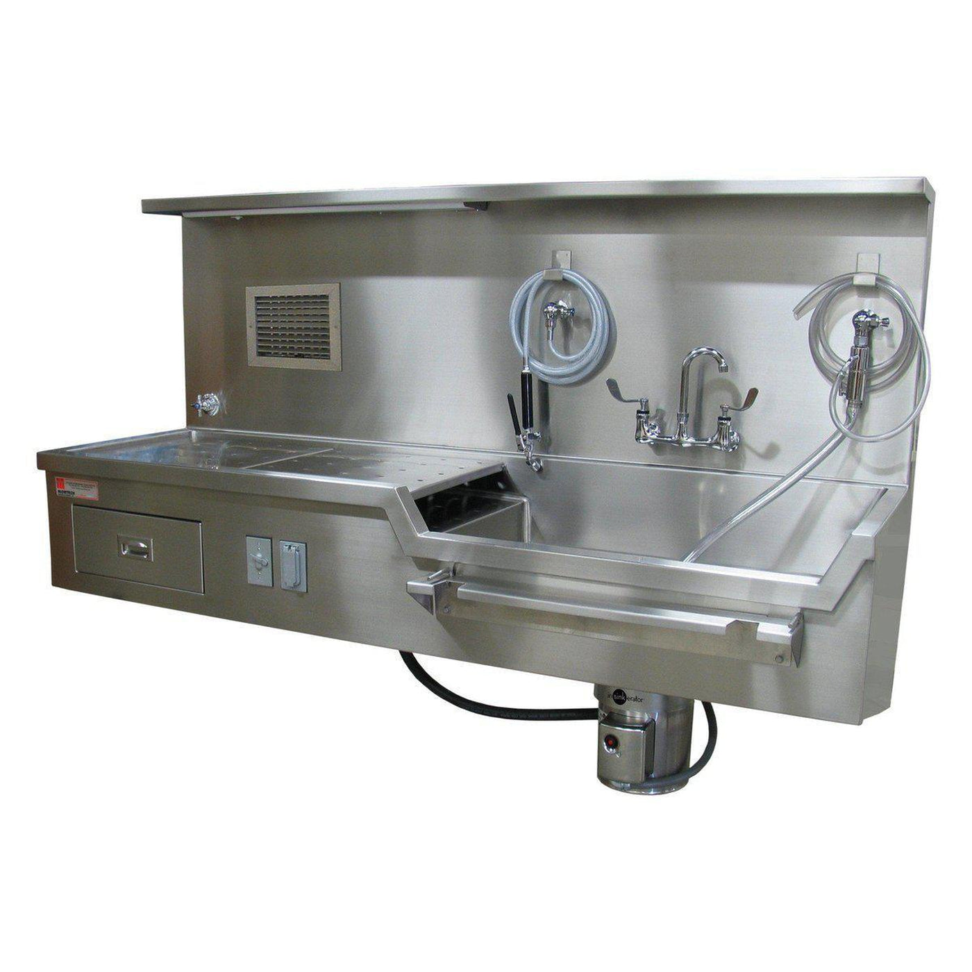 Wall Mount Autopsy Station, Right Sink-Sink Station-Mortech Manufacturing Company Inc. Quality Stainless Steel Autopsy, Morgue, Funeral Home, Necropsy, Veterinary / Anatomy, Dissection Equipment and Accessories