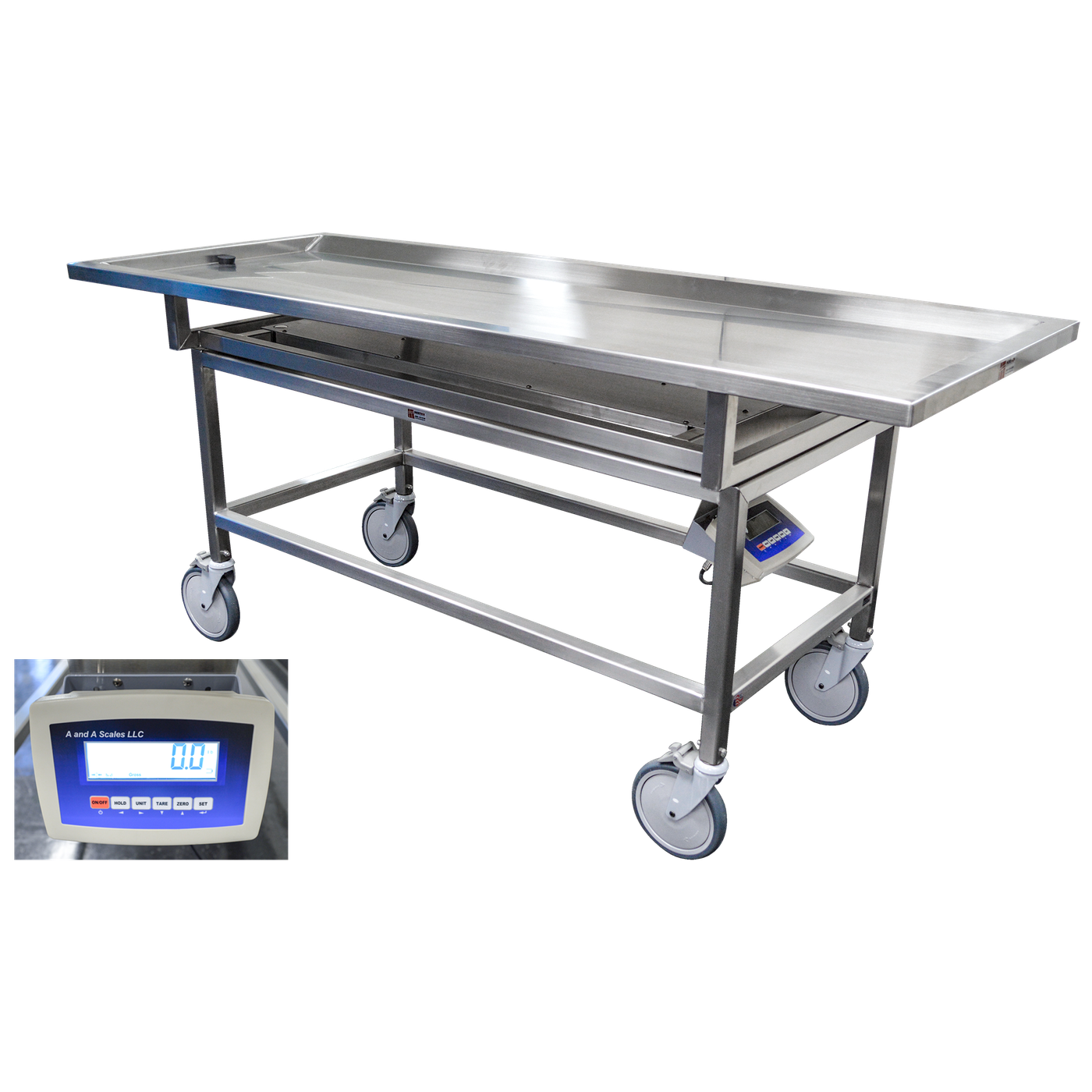 Autopsy Carrier with Scale-Body Transporter-Mortech Manufacturing Company Inc. Quality Stainless Steel Autopsy, Morgue, Funeral Home, Necropsy, Veterinary / Anatomy, Dissection Equipment and Accessories