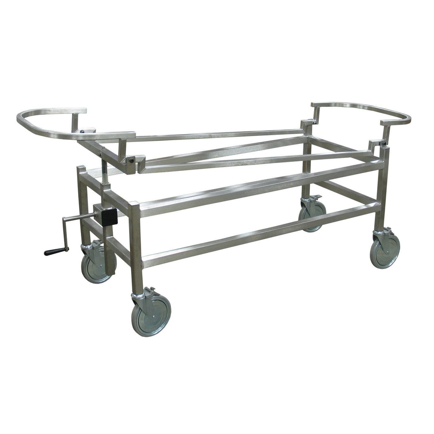 Hand Crank Autopsy Carriers-Body Transporter-Mortech Manufacturing Company Inc. Quality Stainless Steel Autopsy, Morgue, Funeral Home, Necropsy, Veterinary / Anatomy, Dissection Equipment and Accessories