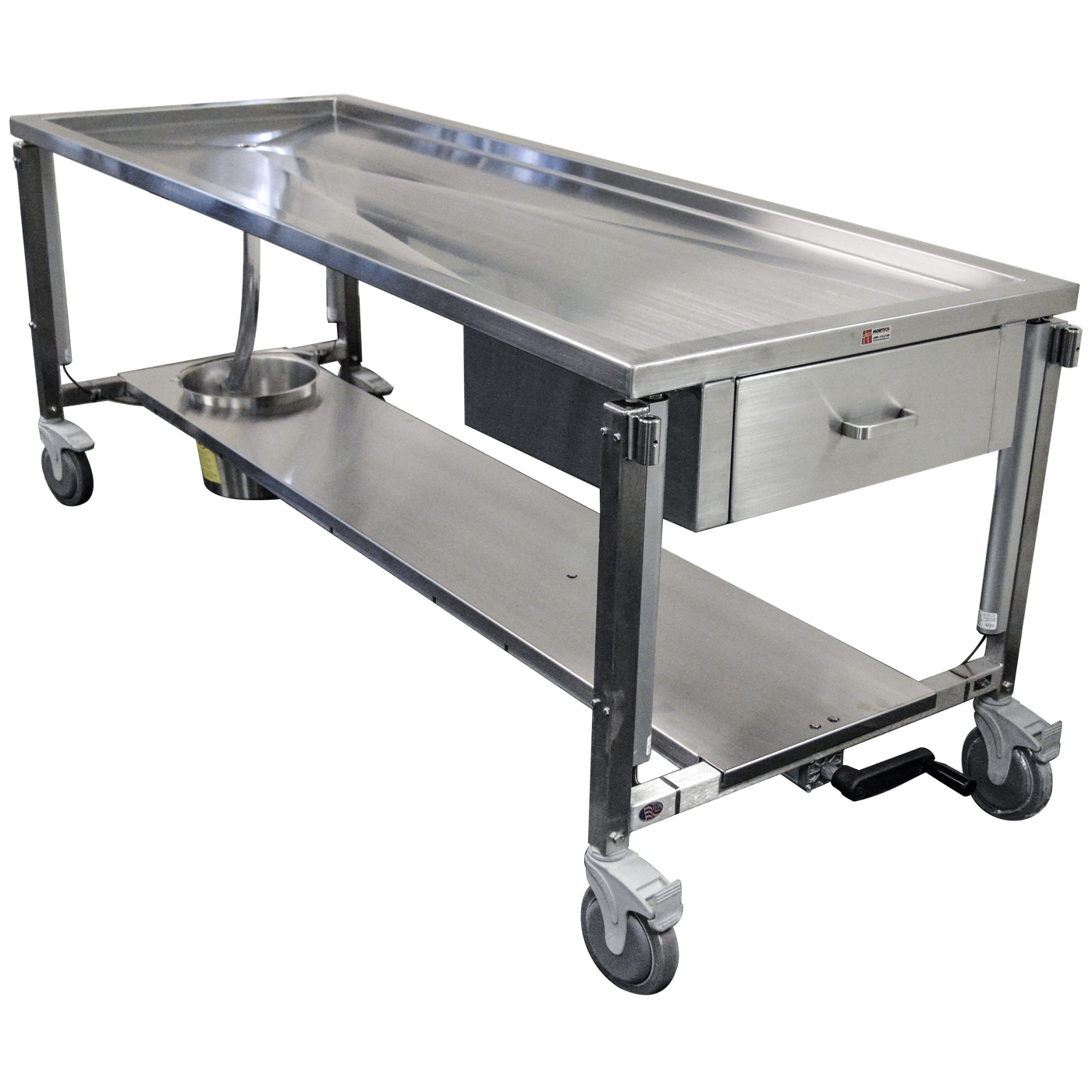 Dissection Table with Hydraulic Height Adjustment-Anatomy Dissection Tables-Mortech Manufacturing Company Inc. Quality Stainless Steel Autopsy, Morgue, Funeral Home, Necropsy, Veterinary / Anatomy, Dissection Equipment and Accessories