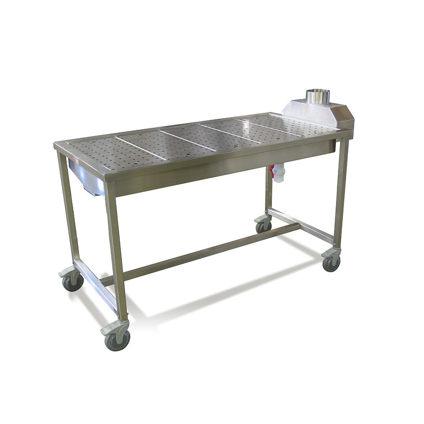 Mobile Downdraft Necropsy Table-Necropsy Dissection Tables-Mortech Manufacturing Company Inc. Quality Stainless Steel Autopsy, Morgue, Funeral Home, Necropsy, Veterinary / Anatomy, Dissection Equipment and Accessories