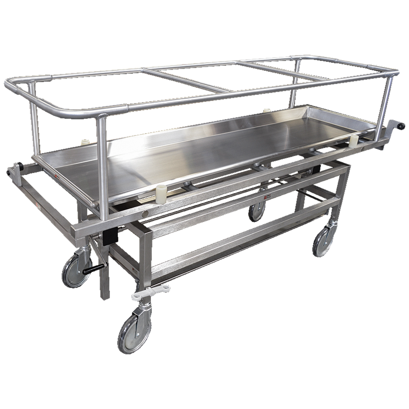 Covered Cadaver Carrier with Hand Crank and Total Wheel Lock-Body Transporter-Mortech Manufacturing Company Inc. Quality Stainless Steel Autopsy, Morgue, Funeral Home, Necropsy, Veterinary / Anatomy, Dissection Equipment and Accessories
