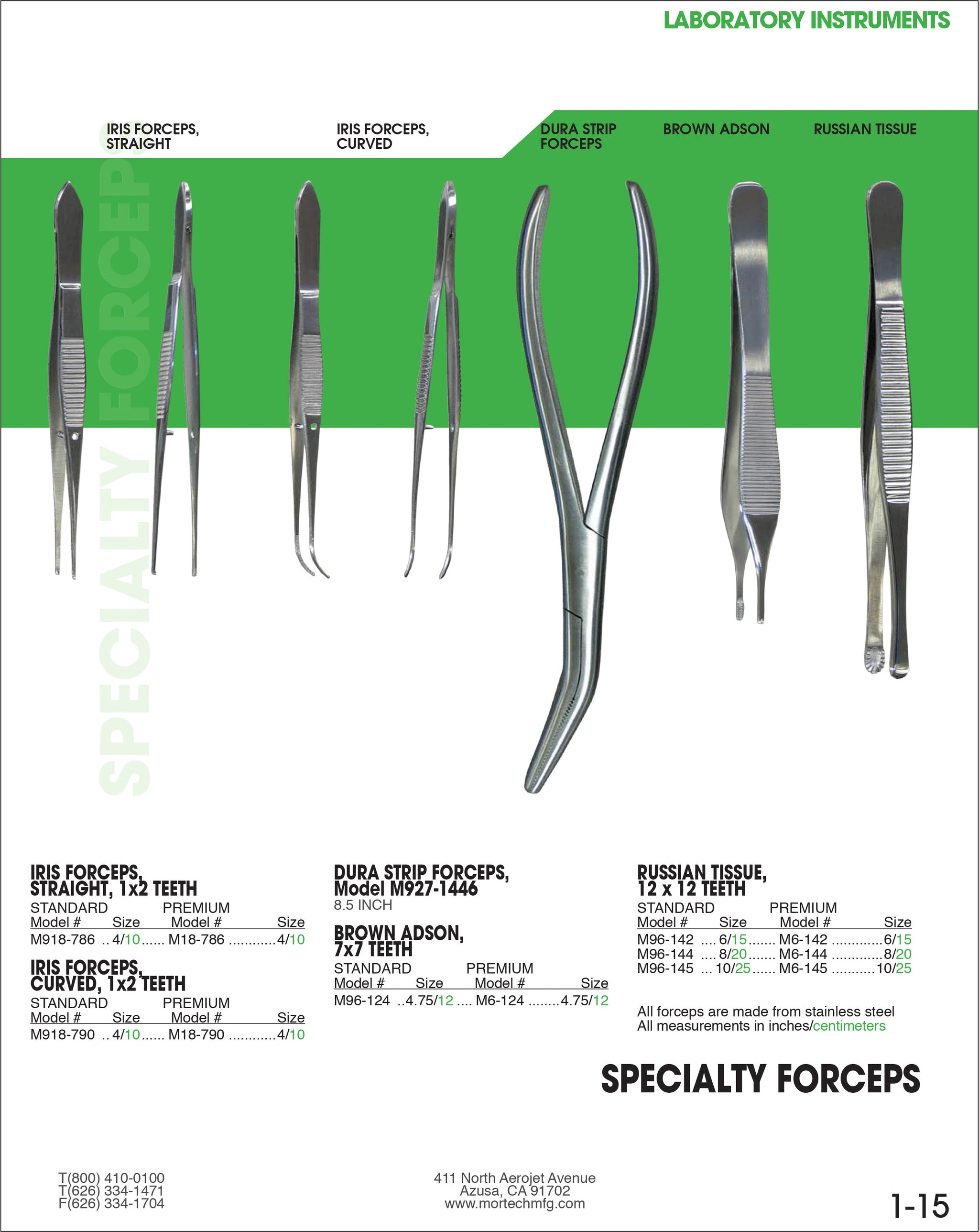 Russian Tissue Forceps-Dissecting Instruments-Mortech Manufacturing Company Inc. Quality Stainless Steel Autopsy, Morgue, Funeral Home, Necropsy, Veterinary / Anatomy, Dissection Equipment and Accessories