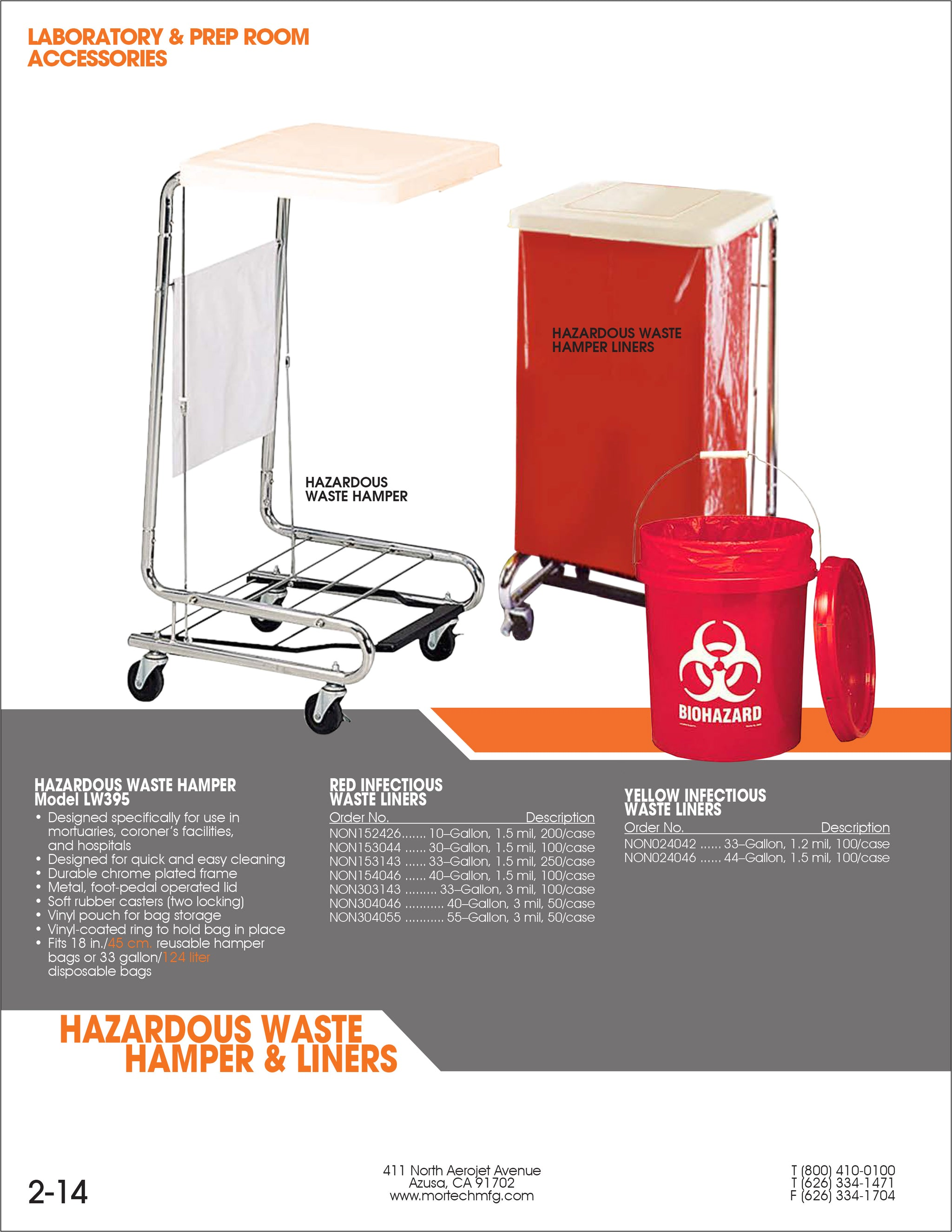 Hazardous Waste Hamper-Laboratory Accessory-Mortech Manufacturing Company Inc. Quality Stainless Steel Autopsy, Morgue, Funeral Home, Necropsy, Veterinary / Anatomy, Dissection Equipment and Accessories