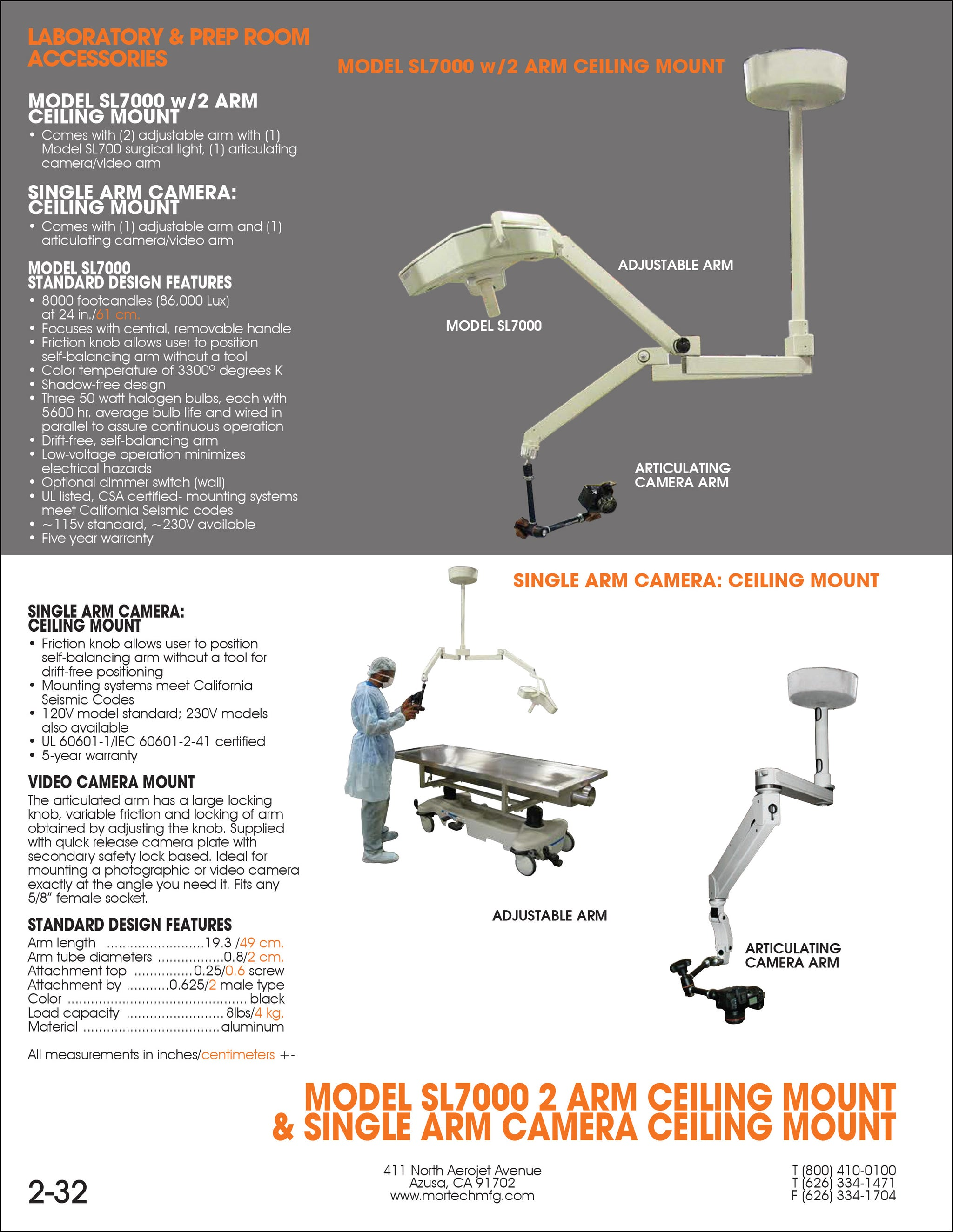 Surgical Light - SL7000-Laboratory Accessory-Mortech Manufacturing Company Inc. Quality Stainless Steel Autopsy, Morgue, Funeral Home, Necropsy, Veterinary / Anatomy, Dissection Equipment and Accessories