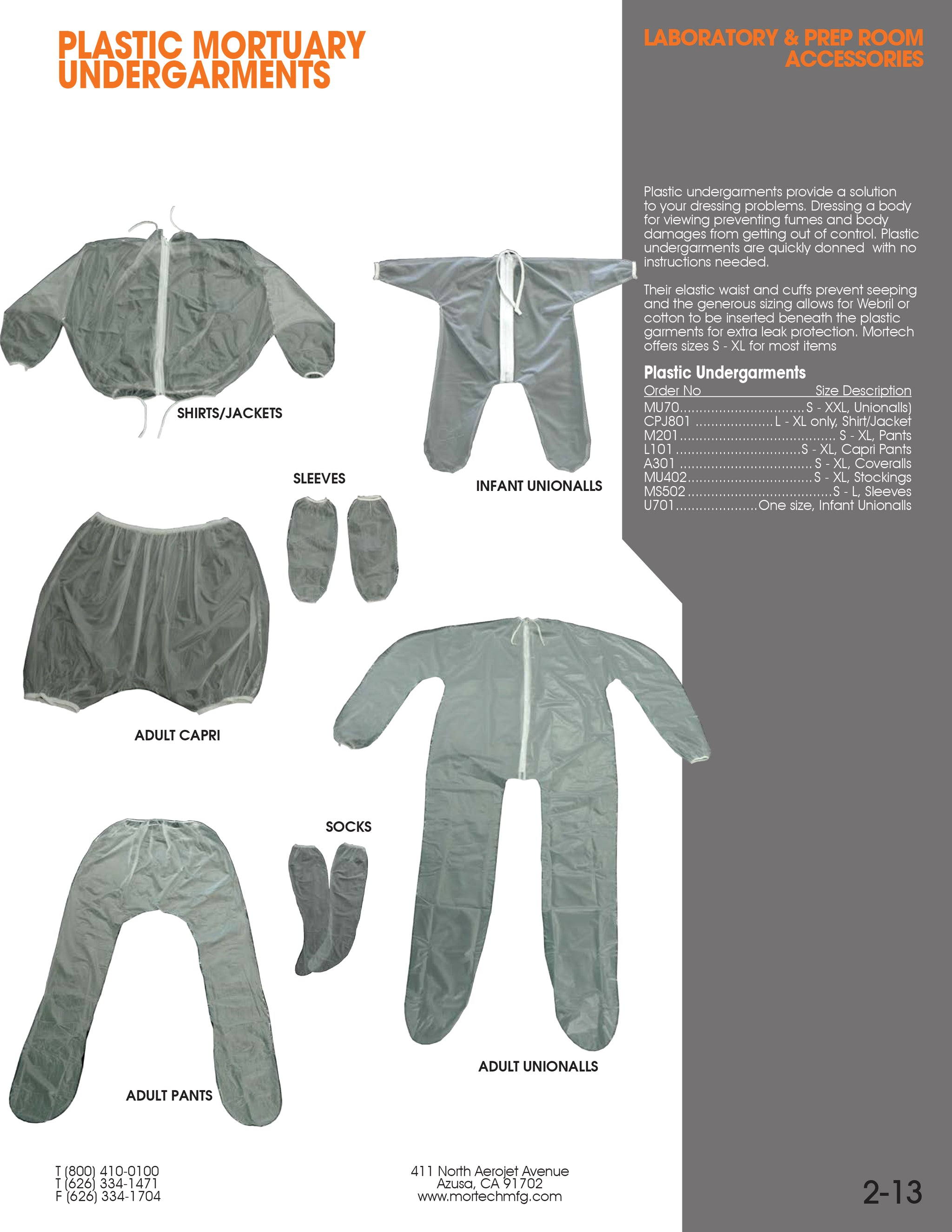 Plastic Undergarments - Adult Unionalls-Laboratory Accessory-Mortech Manufacturing Company Inc. Quality Stainless Steel Autopsy, Morgue, Funeral Home, Necropsy, Veterinary / Anatomy, Dissection Equipment and Accessories