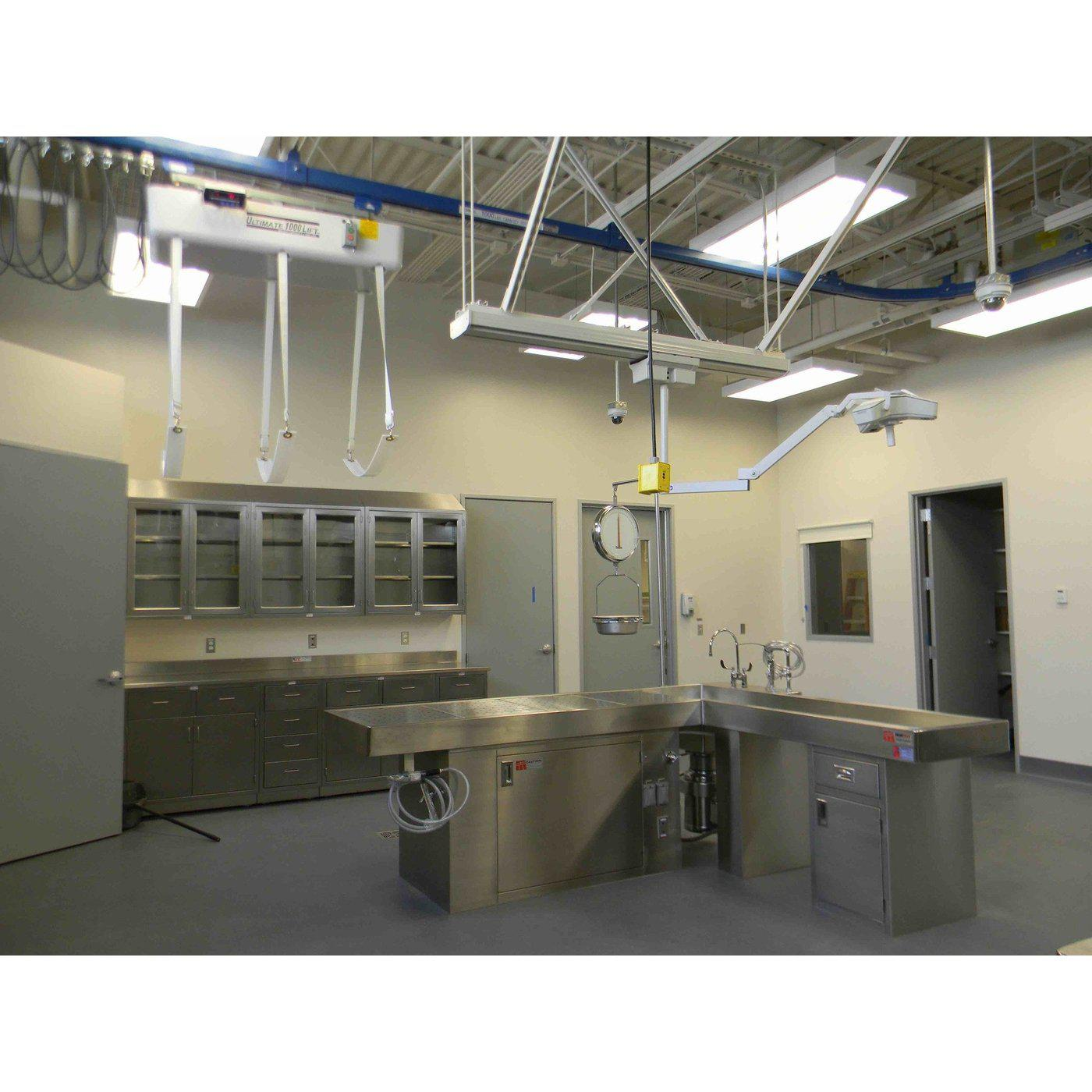 L-Shaped Autopsy Table-Pathology Grossing Stations-Mortech Manufacturing Company Inc. Quality Stainless Steel Autopsy, Morgue, Funeral Home, Necropsy, Veterinary / Anatomy, Dissection Equipment and Accessories