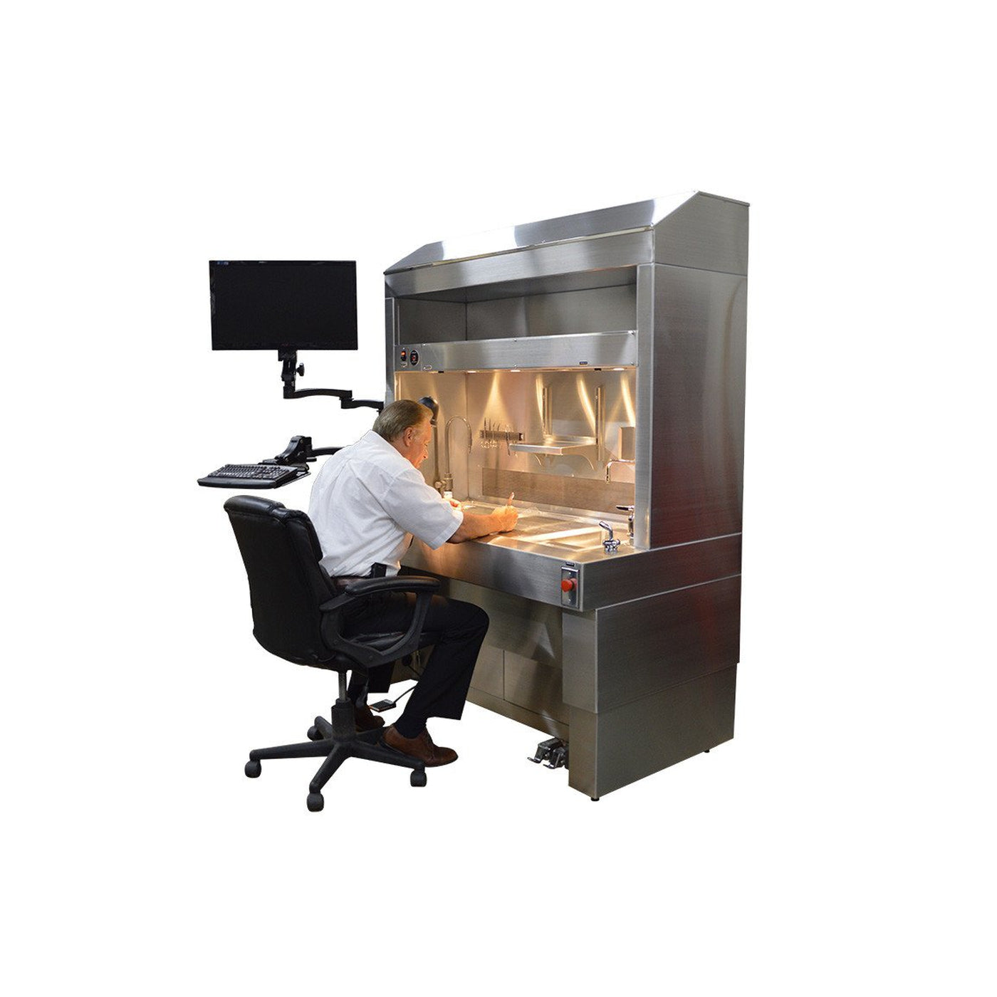 Elevating Pathology Workstation with Downdraft & Backdraft Ventilation-Pathology Grossing Stations-Mortech Manufacturing Company Inc. Quality Stainless Steel Autopsy, Morgue, Funeral Home, Necropsy, Veterinary / Anatomy, Dissection Equipment and Accessories