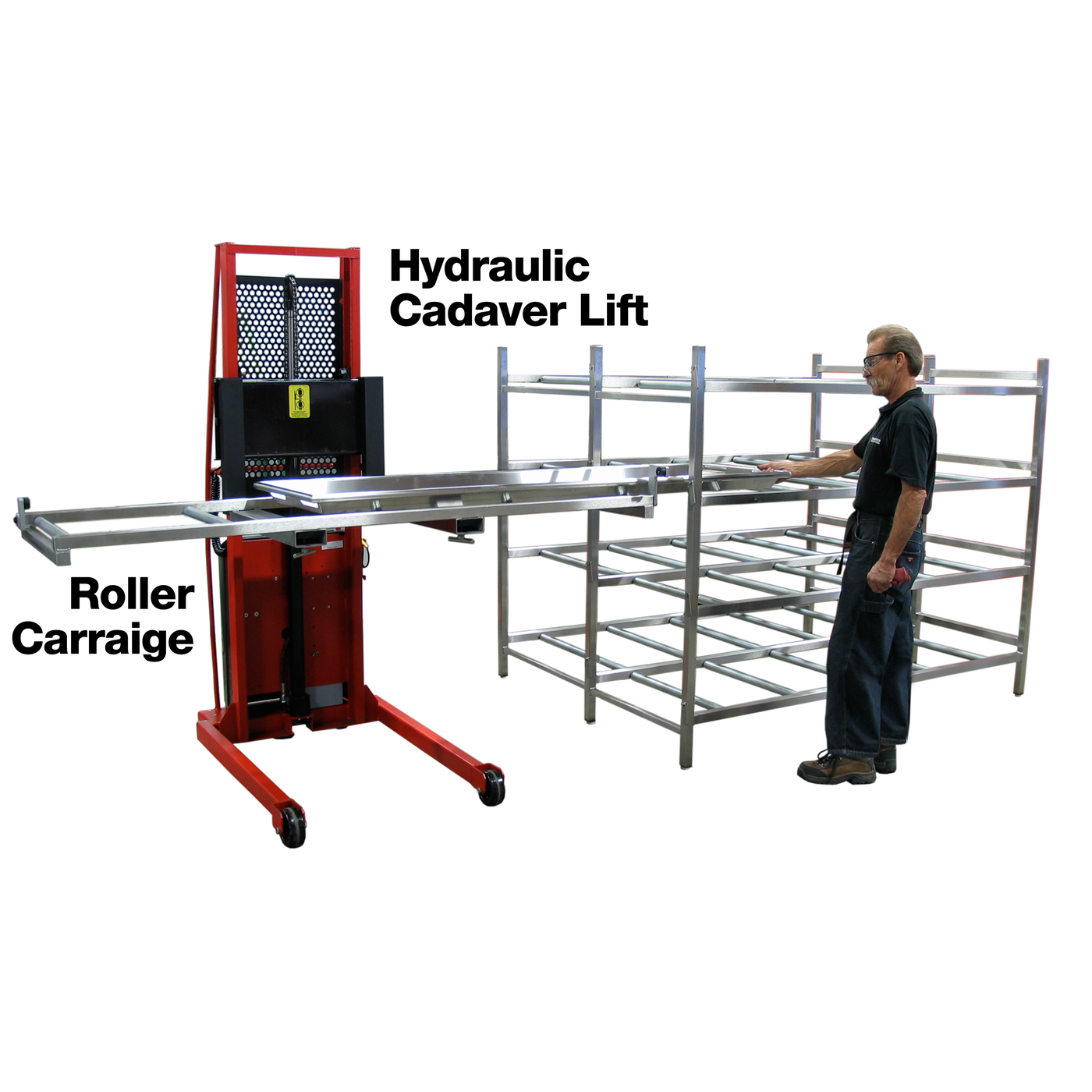 Mortuary Rack System with Full Rollers-Cadaver Handling & Storage Systems-Mortech Manufacturing Company Inc. Quality Stainless Steel Autopsy, Morgue, Funeral Home, Necropsy, Veterinary / Anatomy, Dissection Equipment and Accessories