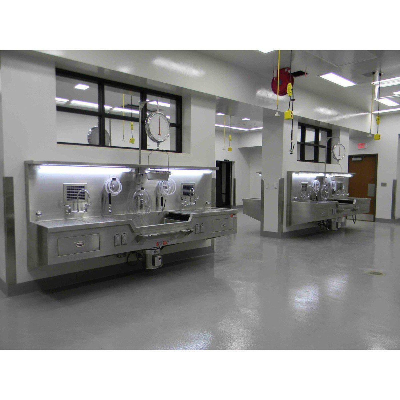 Wall mount autopsy station center sink mortech Embalming room design