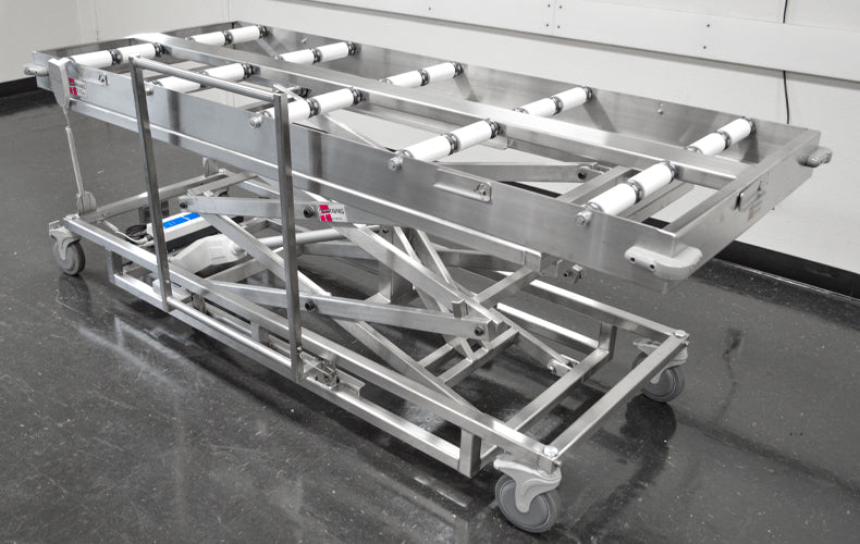 Endload/Sideload Portable Cadaver Scissor Lift with Rollers