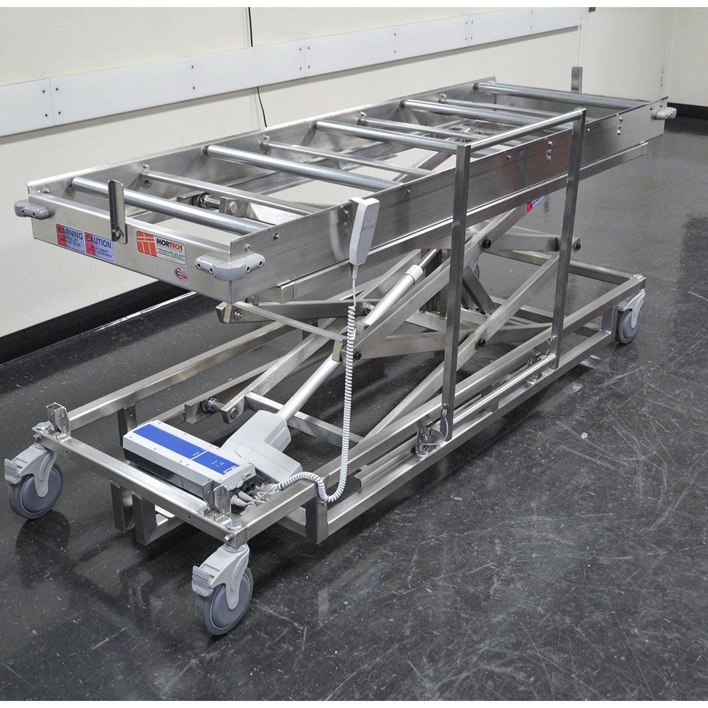 Portable Cadaver Scissor Lift with Rollers-Cadaver Handling & Storage Systems-Mortech Manufacturing Company Inc. Quality Stainless Steel Autopsy, Morgue, Funeral Home, Necropsy, Veterinary / Anatomy, Dissection Equipment and Accessories