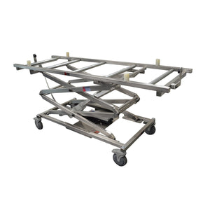 Cadaver Scissor Lift with Rollers-Cadaver Handling & Storage Systems-Mortech Manufacturing Company Inc. Quality Stainless Steel Autopsy, Morgue, Funeral Home, Necropsy, Veterinary / Anatomy, Dissection Equipment and Accessories